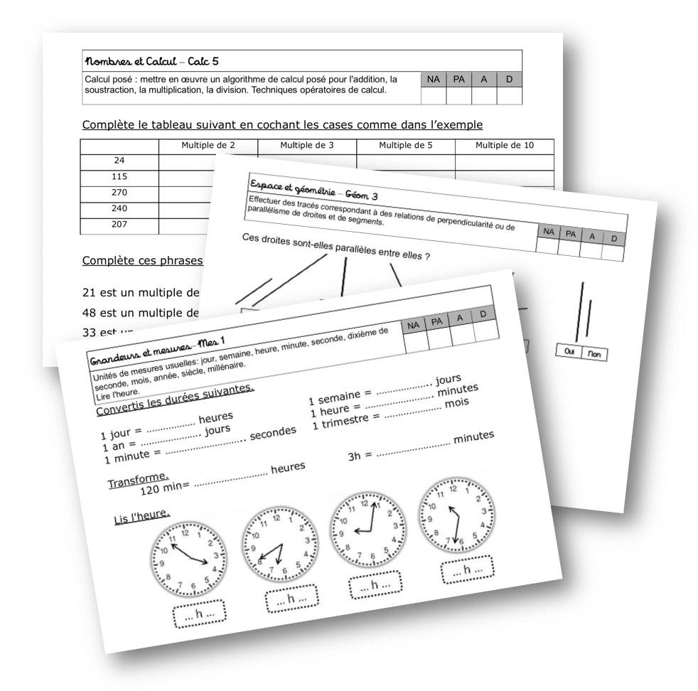 Fichier d'évaluation maths CM1 - La classe de Mallory